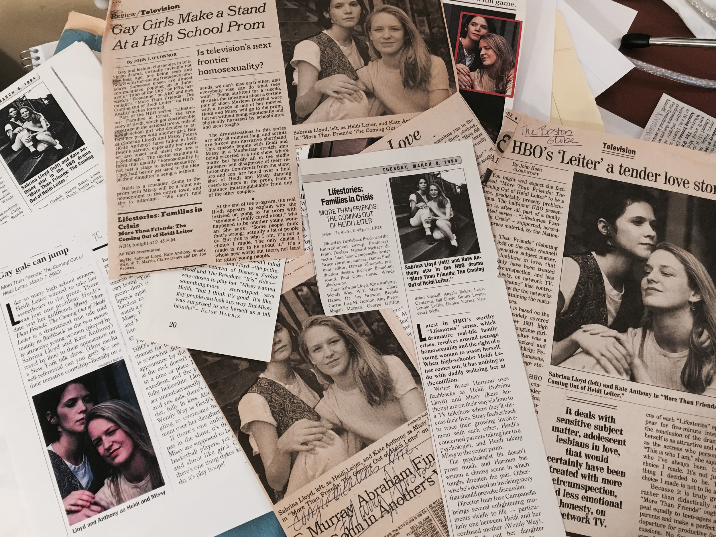 cuttings from the new york times, boston globe, out, the advocate, tv guide, HBO Magazine and more