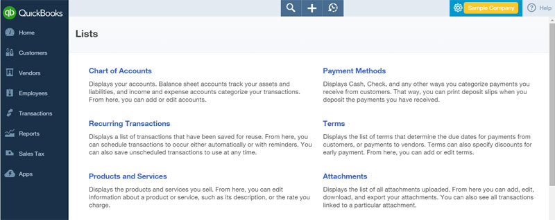 View your chart of accounts, products and services, payment methods, and set up recurring transactions from  All Lists  found in the  Gear Menu .