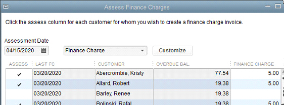 You will determine who should have finance charge invoices created in the  Assess Finance Charges  window.