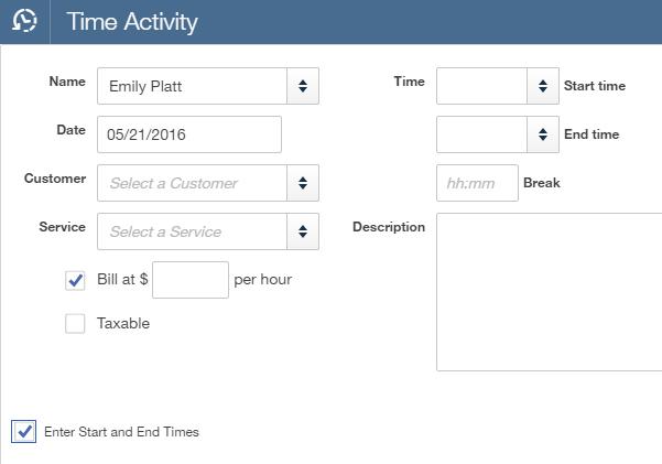 QuickBooks Online Plus Time Activity Screen