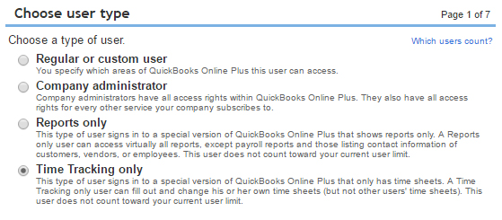 Time tracking only users in QuickBooks Online Plus