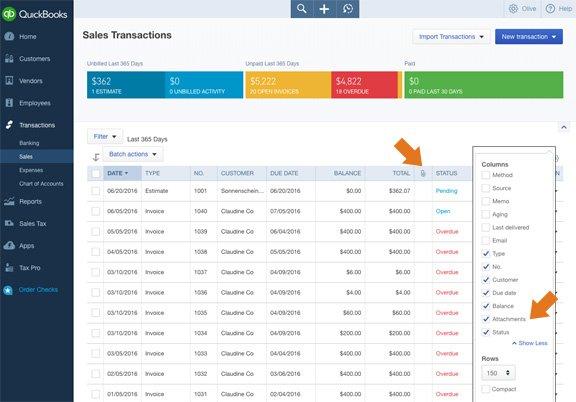 QuickBooks Online show/hide attachment column for customer list and vendor list