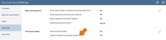 Automatically copy an estimate to a purchase order in QuickBooks Online