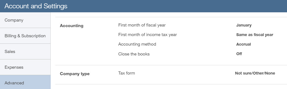 Setting your fiscal year in QuickBooks Online