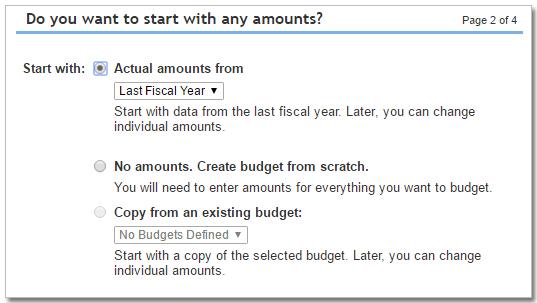QuickBooks Olnine budget options
