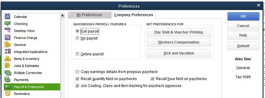 QuickBooks Desktop Payroll & Employees preferences