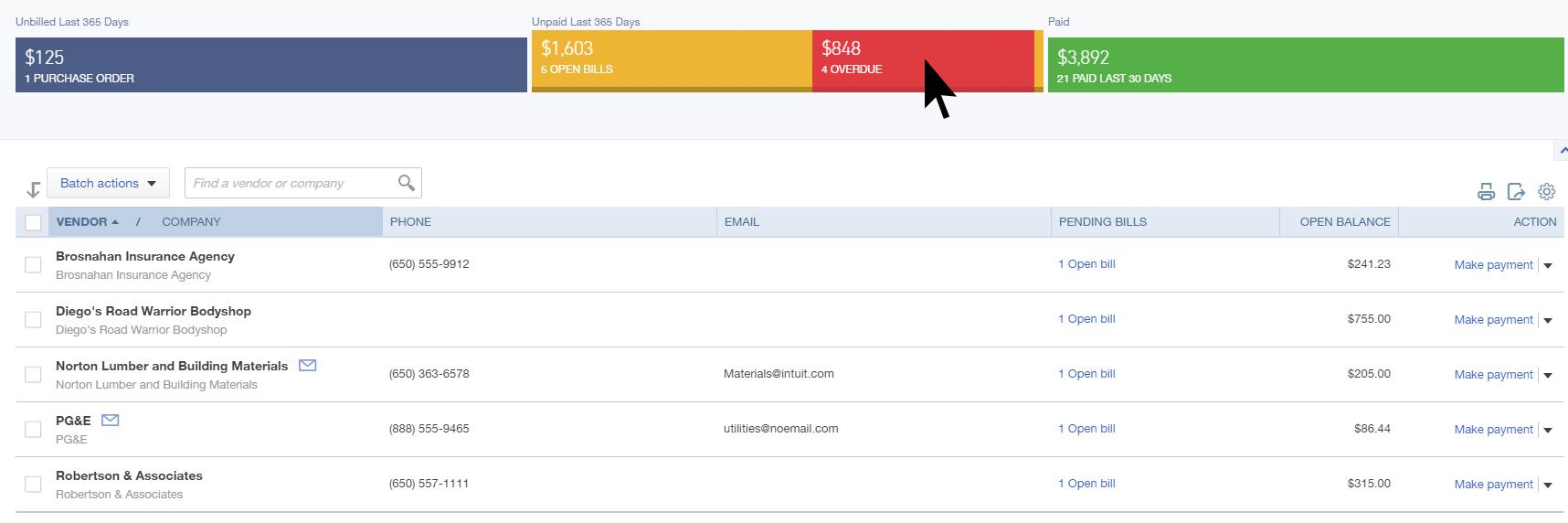QuickBooks Online Vendor Bar to Pay Bills