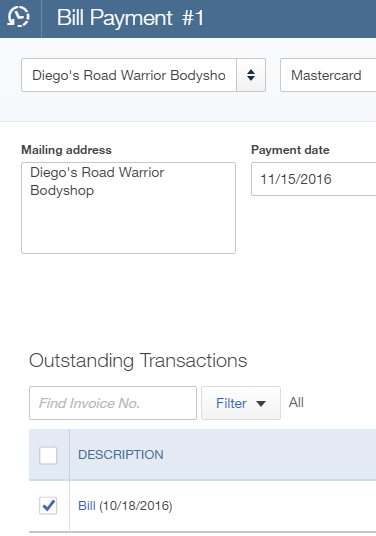 QuickBooks Online Bill Payment screen