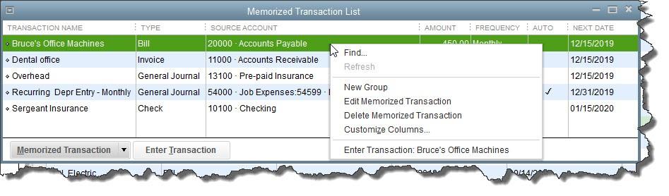 QuickBooks Desktop Memorized Transaction List