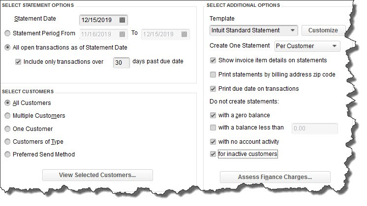 Creating customer statements in QuickBooks Desktop