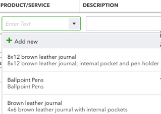 QuickBooks Online Product/Service item dropdown list on forms