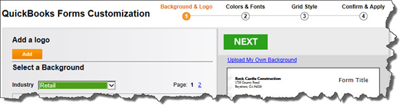 If you want to create a different look for the Custom Estimate template or build and save a new one, you can walk through this customization wizard.