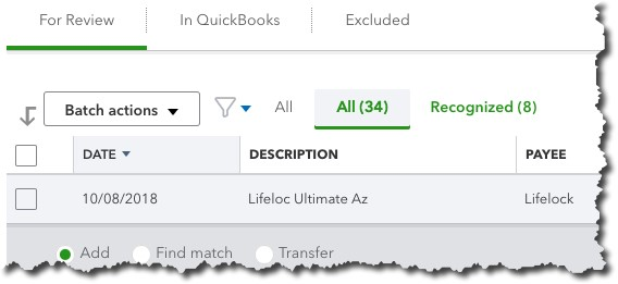When you first download transactions into QuickBooks Online, before you've done anything with them, many will appear under For Review.