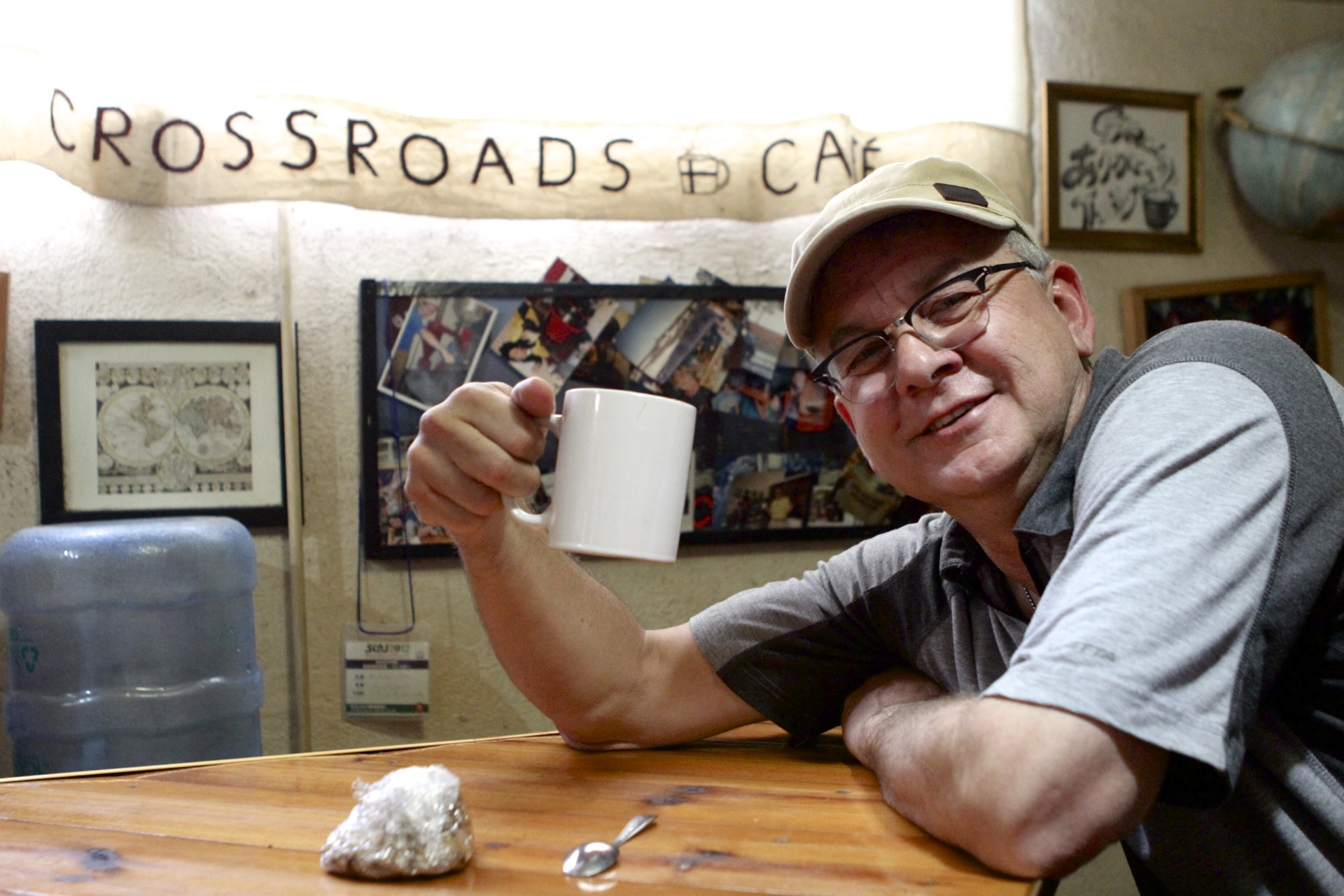 For Ron and many of us, Crossroads Cafe is an oasis of good coffee, where you can collect your thoughts, amidst the busy-ness of Panajachel.  Ron is an architectural designer back in Canada, a longtime board member, and a frequent flyer to Guatemala.
