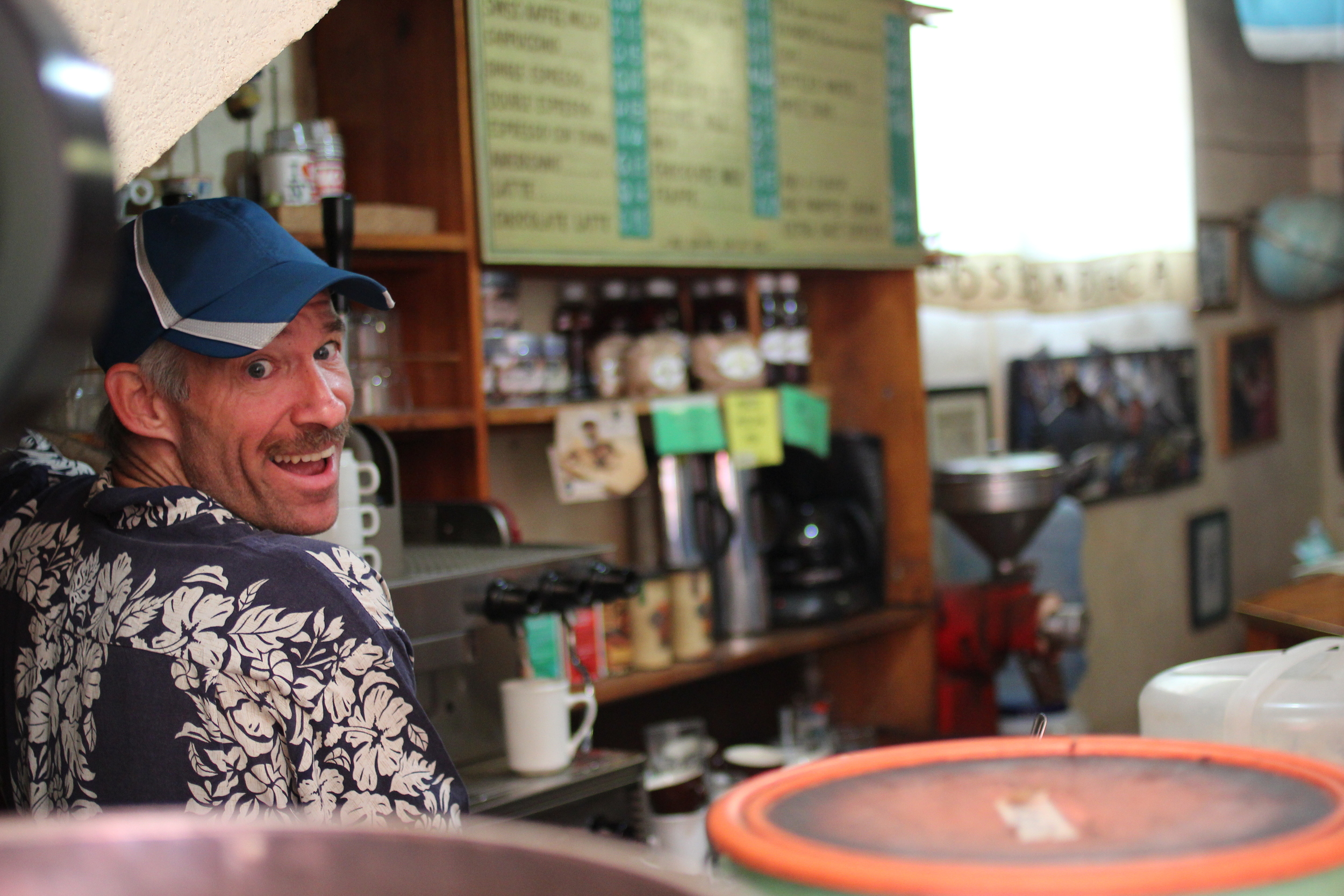 Mike is the one-man-show proprietor of Crossroads Cafe, and a source of encouragement and answers for many a visitor. He knows more about coffee than anyone we've ever met.