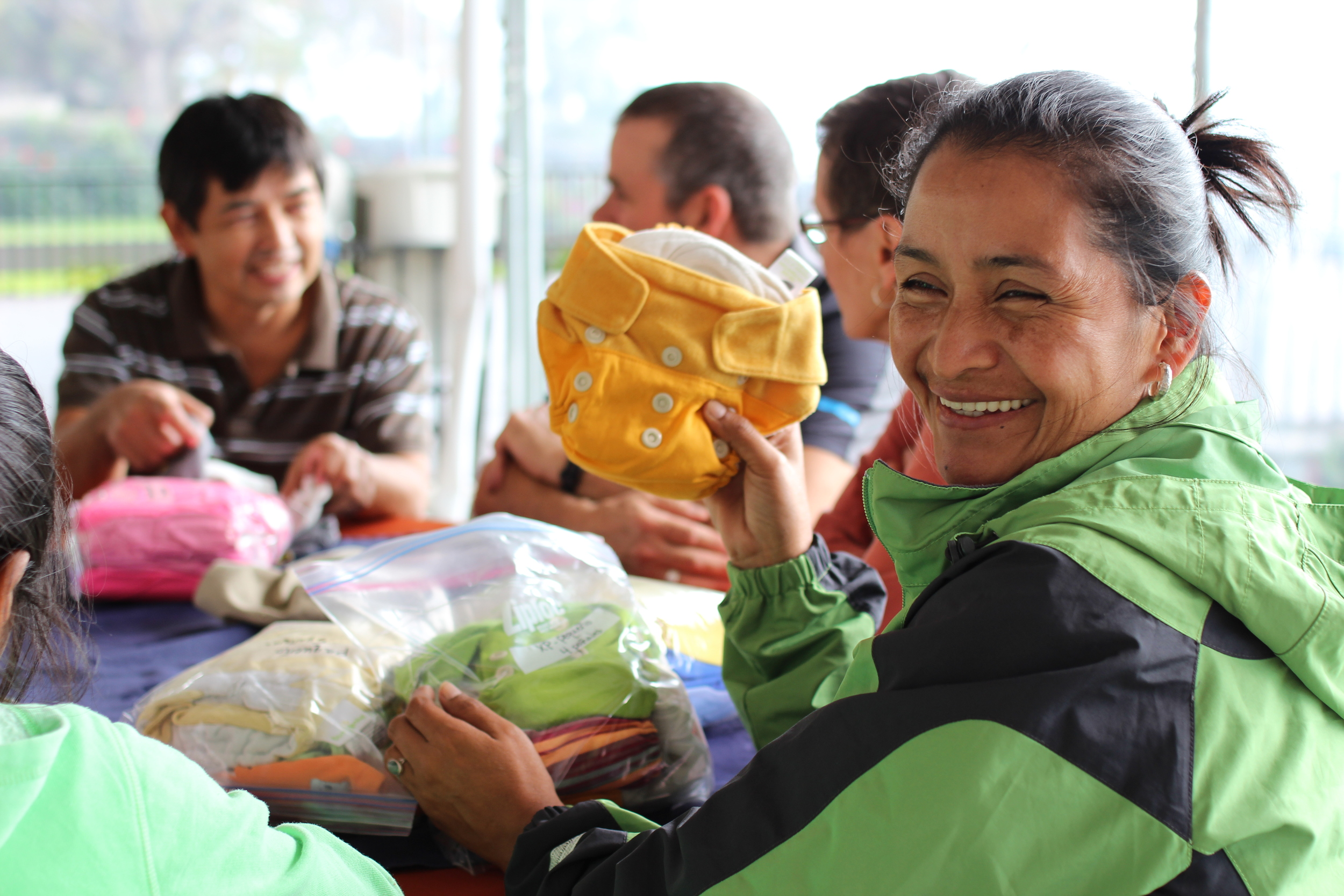 Carina, Francisco's wife and partner in all things, is his key teammate in making his medical clinic work.  She assists in operations, helps organize, and one of her personal missions is making sure that new moms receive a set of cloth diapers, courtesy of Canadian moms who have sent them down.