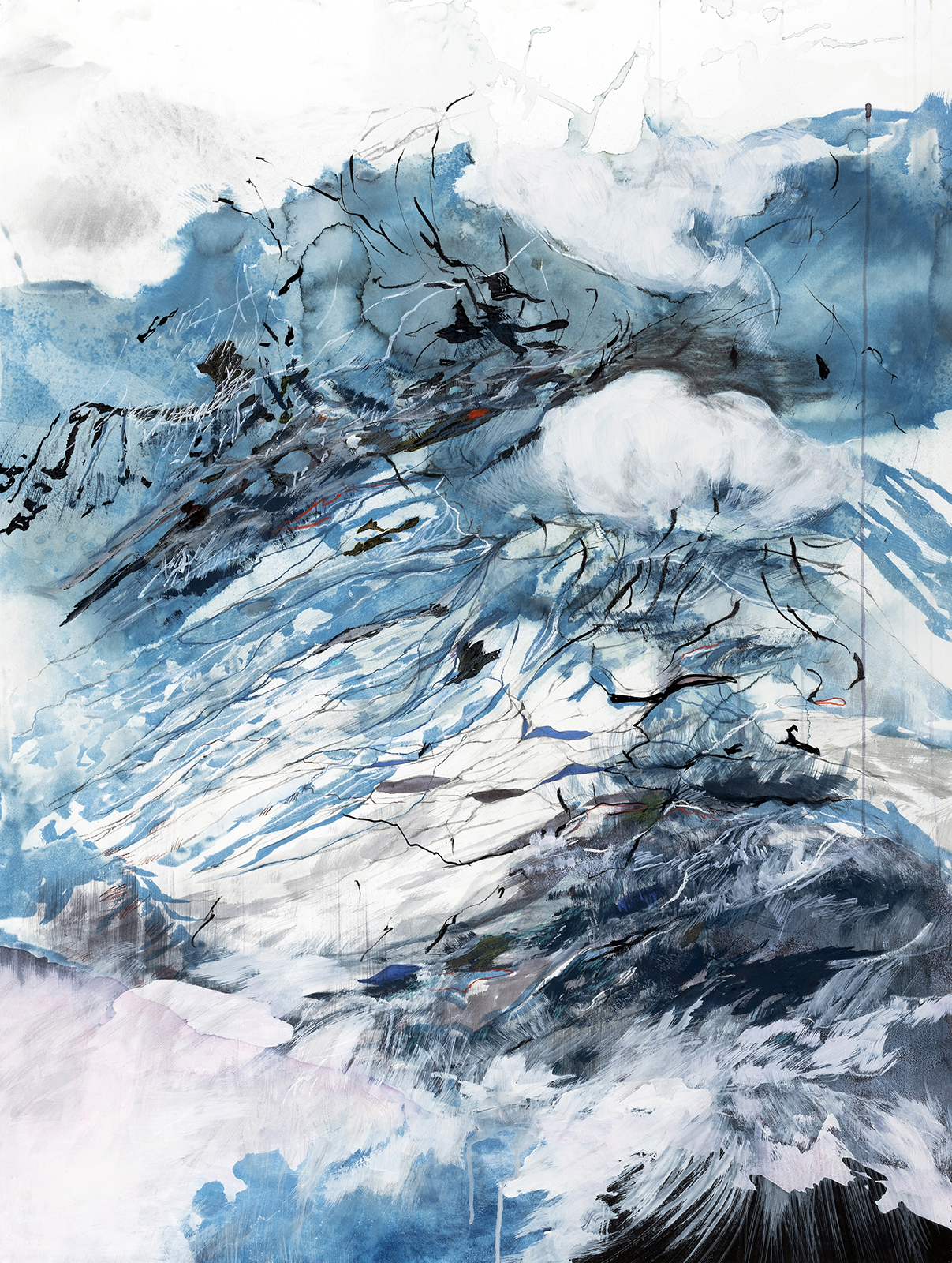 "Terrain without Distance (61°30'53.44""N 142°54'39.92""W)  Cyanotype, Ink, acrylic, pencil, conte crayon, markers, and graphite on paper  2018  36 x 27.5"""