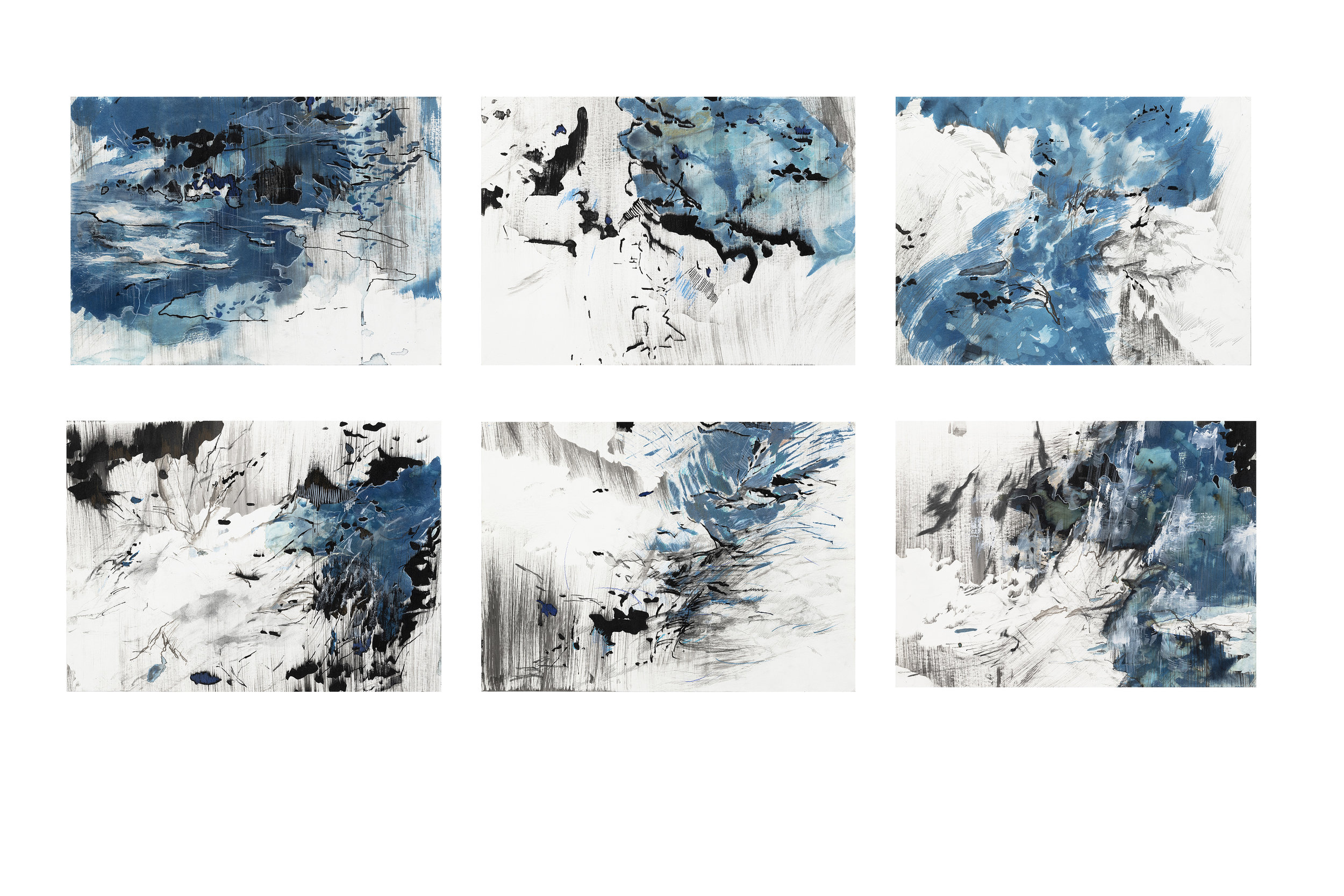 "Distance of Blue 3- 8  Cyanotype, Ink, acrylic, pencil, conte crayon, markers, and graphite on paper  2018  10 x 14"" each"