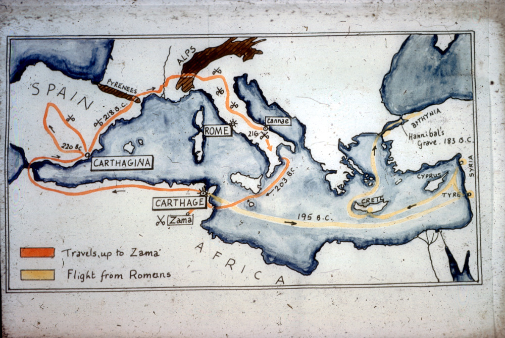 Hannibal's journey from Carthage to Spain and then to Italy.