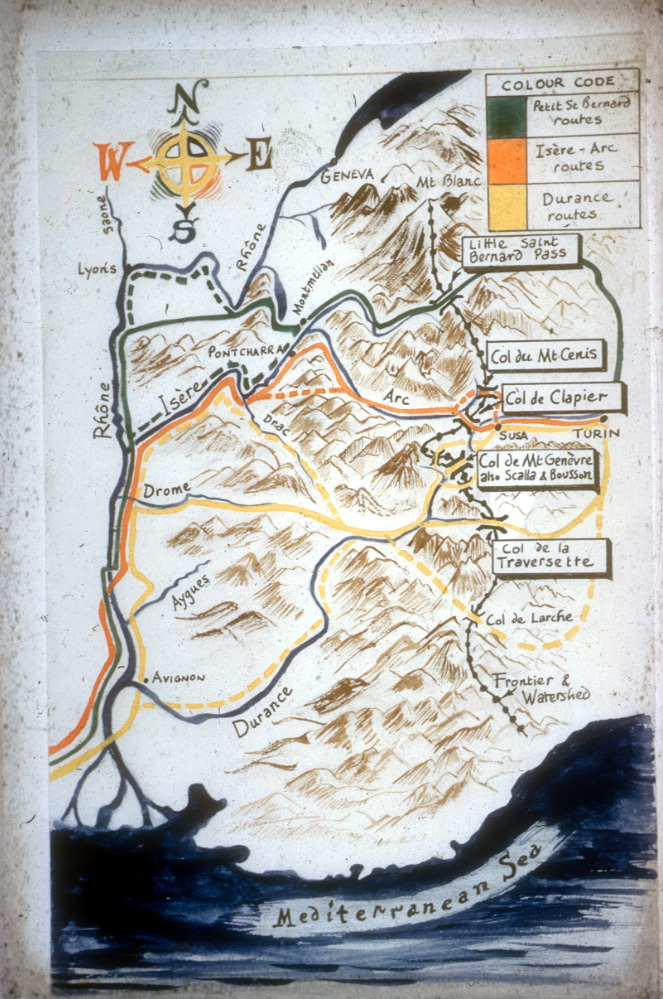 Map of the Alps showing Hannibal's possible routes. We believe he took the RED route, via the Col de Clapier.