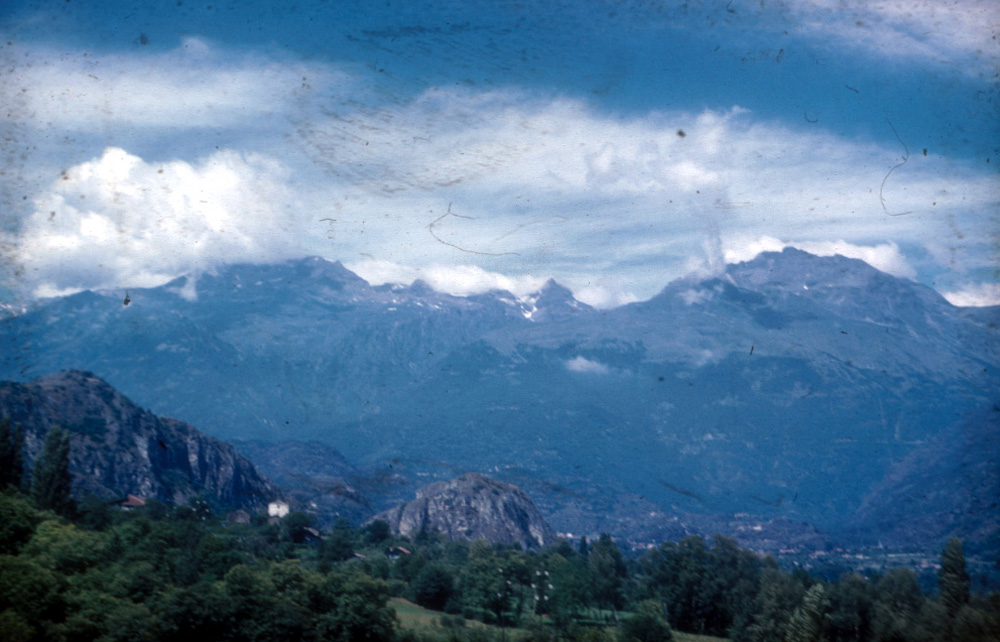 The Col de Clapier, to the right of center, from Italy.