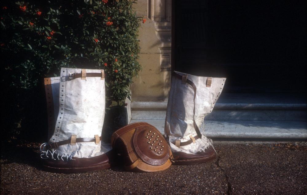 Jumbo's boots and knee pad.