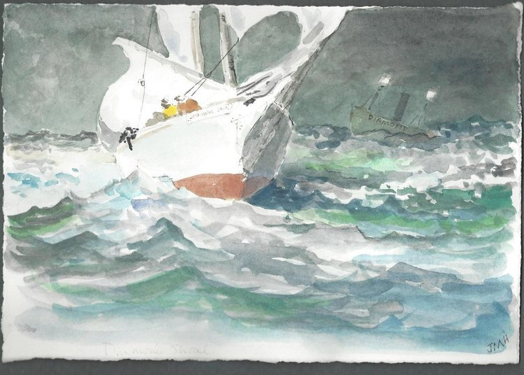 """Just a little trouble with the main."" inspired by Winslow Homer"