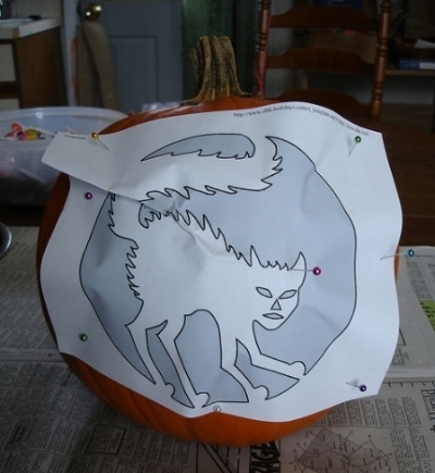 Stencil applied to pumpkin. — girlwparasol/Flickr