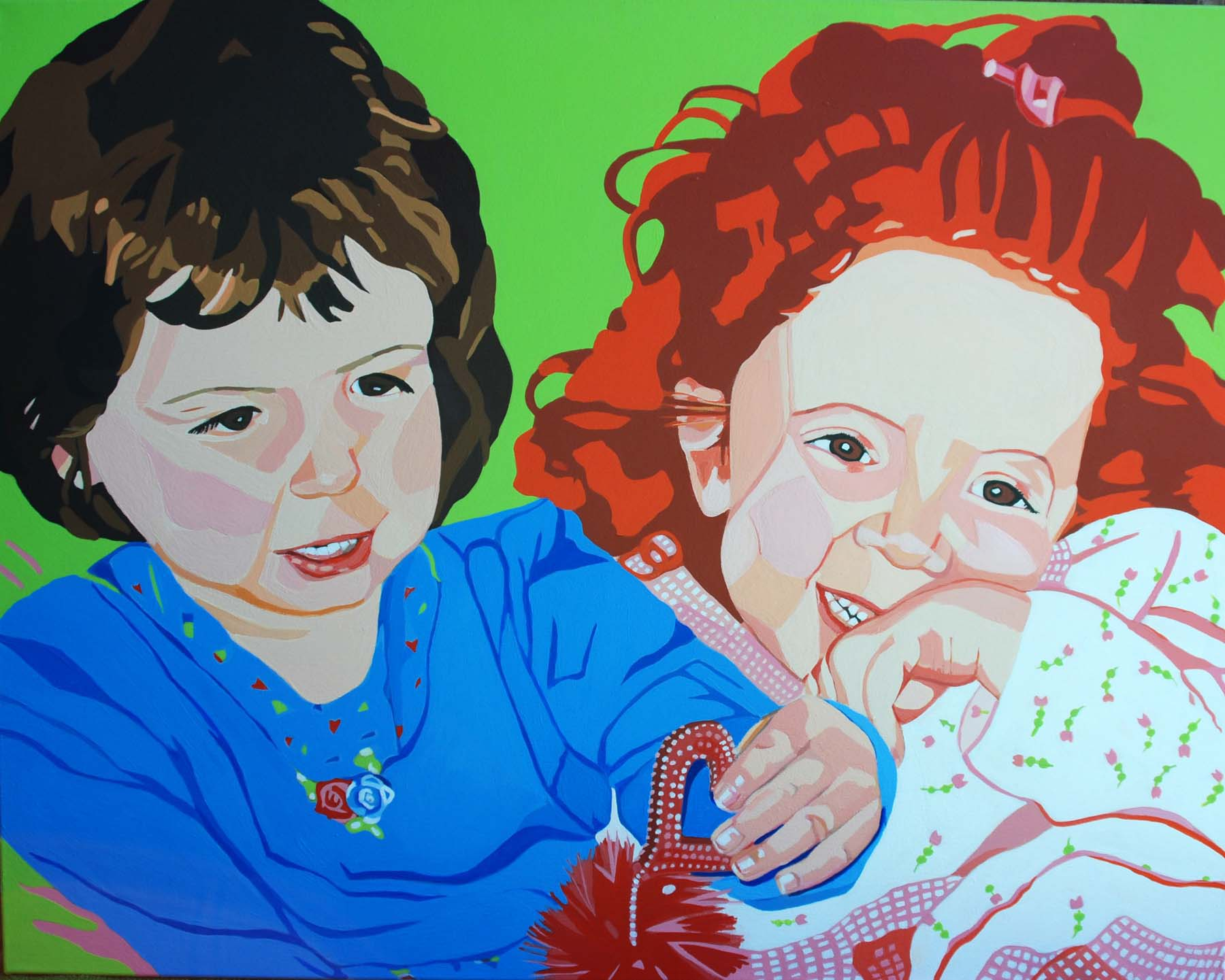 Sisters  . Commissioned Painting. Acrylic on canvas. 30 X 38.