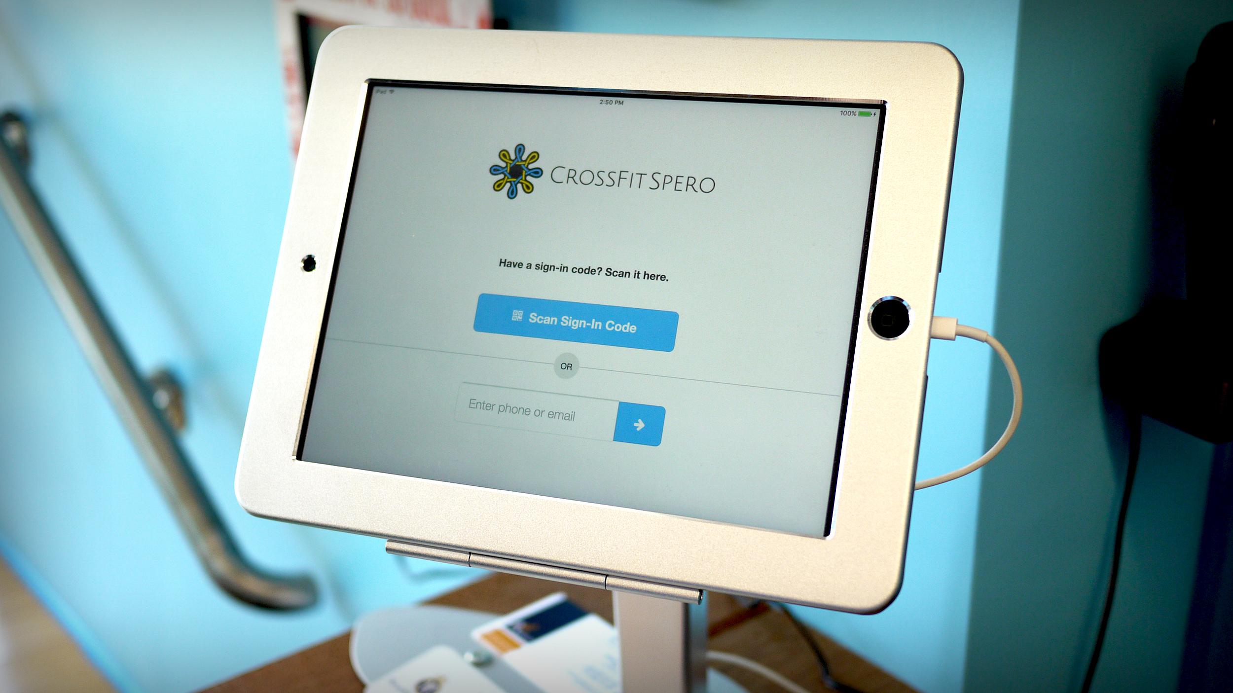 Crossfit Spero sign-in screen