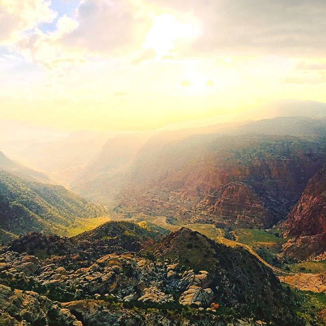 Looking out from my room into Wadi Dana, known as the Grand Canyon of Jordan. As I snapped this picture, I could hear a Bedouin calling to his goats,  eager to herd them up the wadi (valley) before the sun went down. So many ethereal experiences to be had in this one tiny country. Jordan & Middle East trip planning    DM/email in bio. . . . #lovejo #visitjordan #myjordanjourney #danabiospherereserve #wildjordan #jordan #nature #sunset #grandcanyon #wadidana #greatriftvalley #hike #bedouin #ecotravel #responsibletravel #adventuretravel #lodge #valley #curatedbycath #beautifulview #wonderfuldestinations #travel #travelphotgraphy #instatravel #travelgram #middleeast #giordania