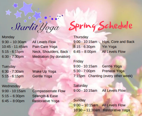 Our schedule may change.  Please check MindBody Online for the most up-to-date schedule .