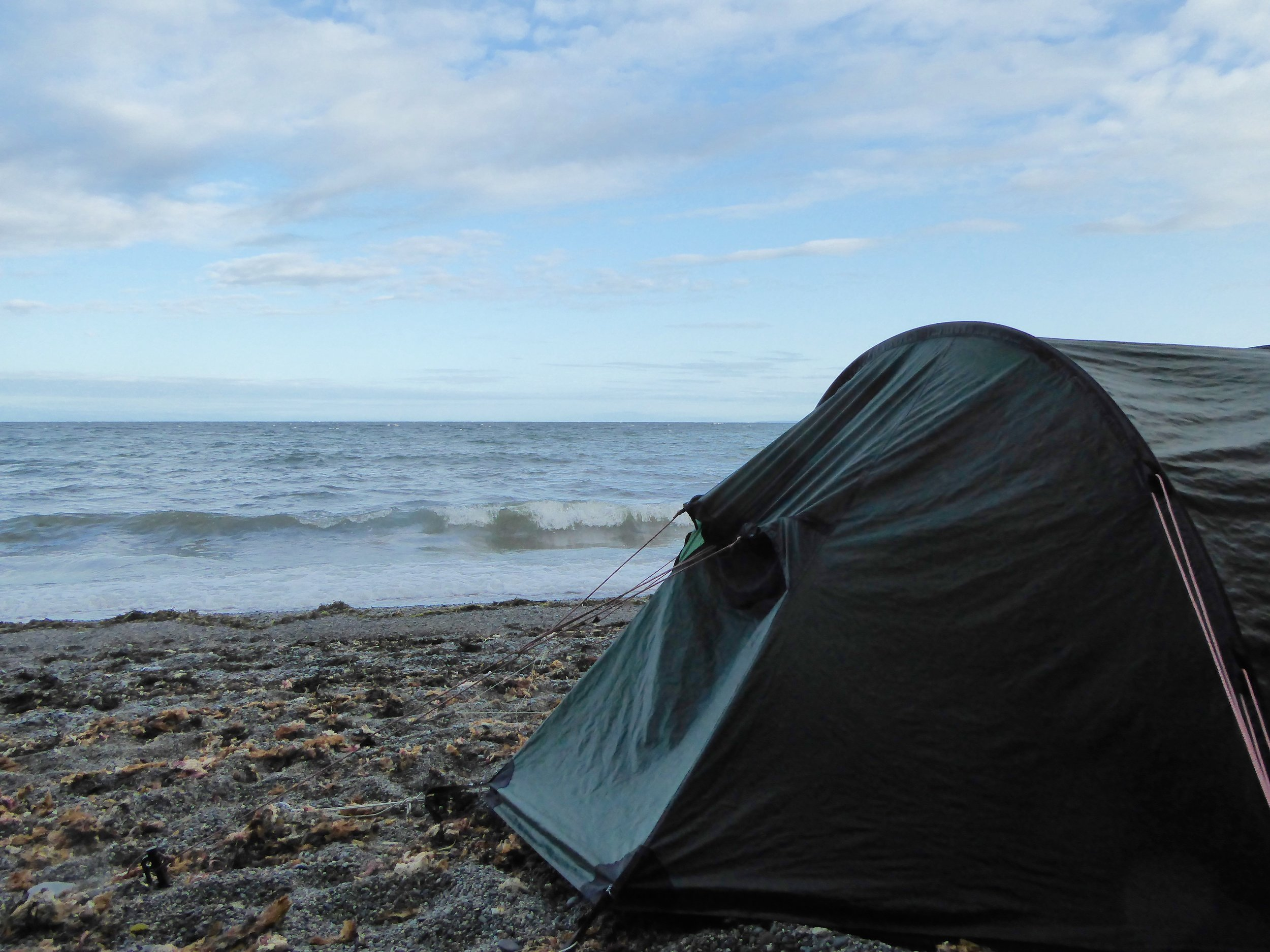 At least the tide did not reach our tent.