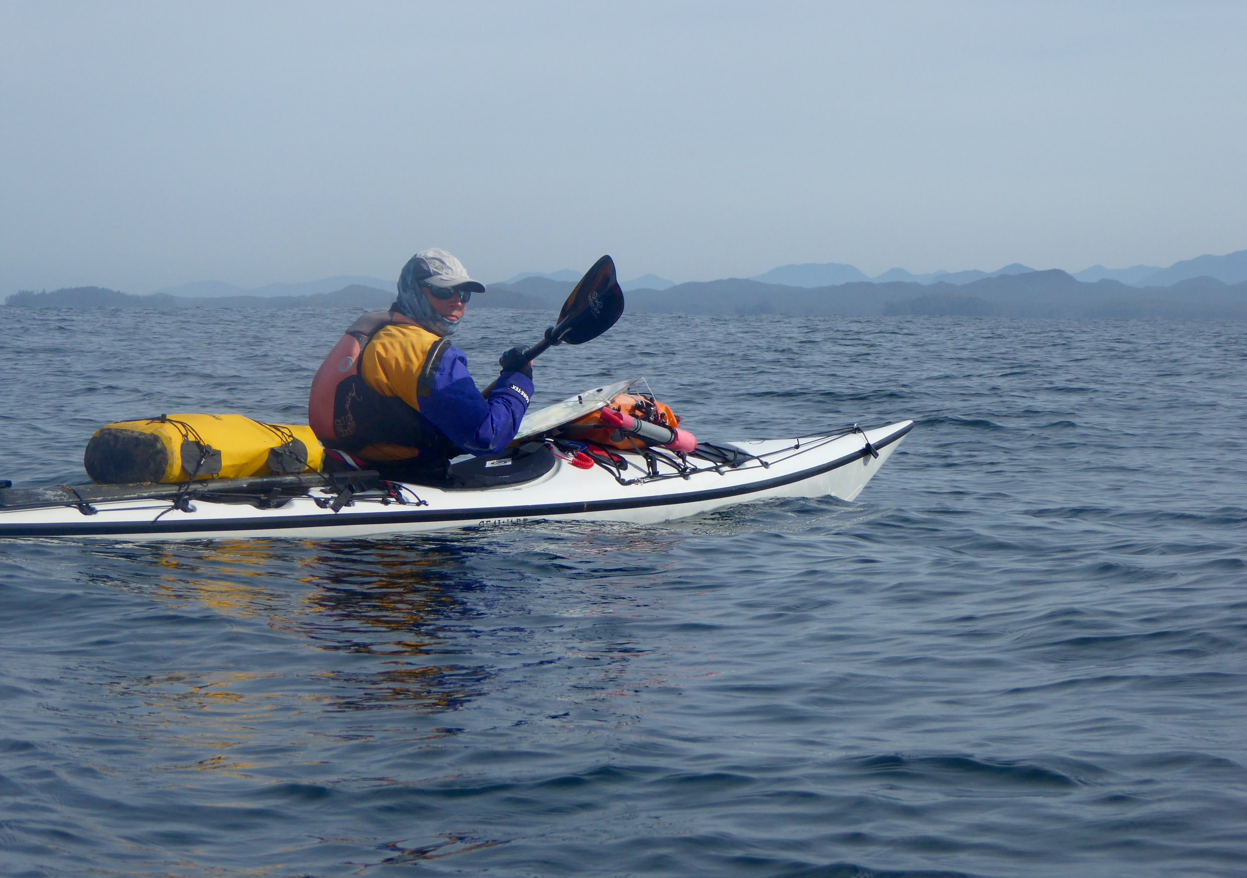 Once rounding the point we paddled steadily till reaching a more protected larger bay.