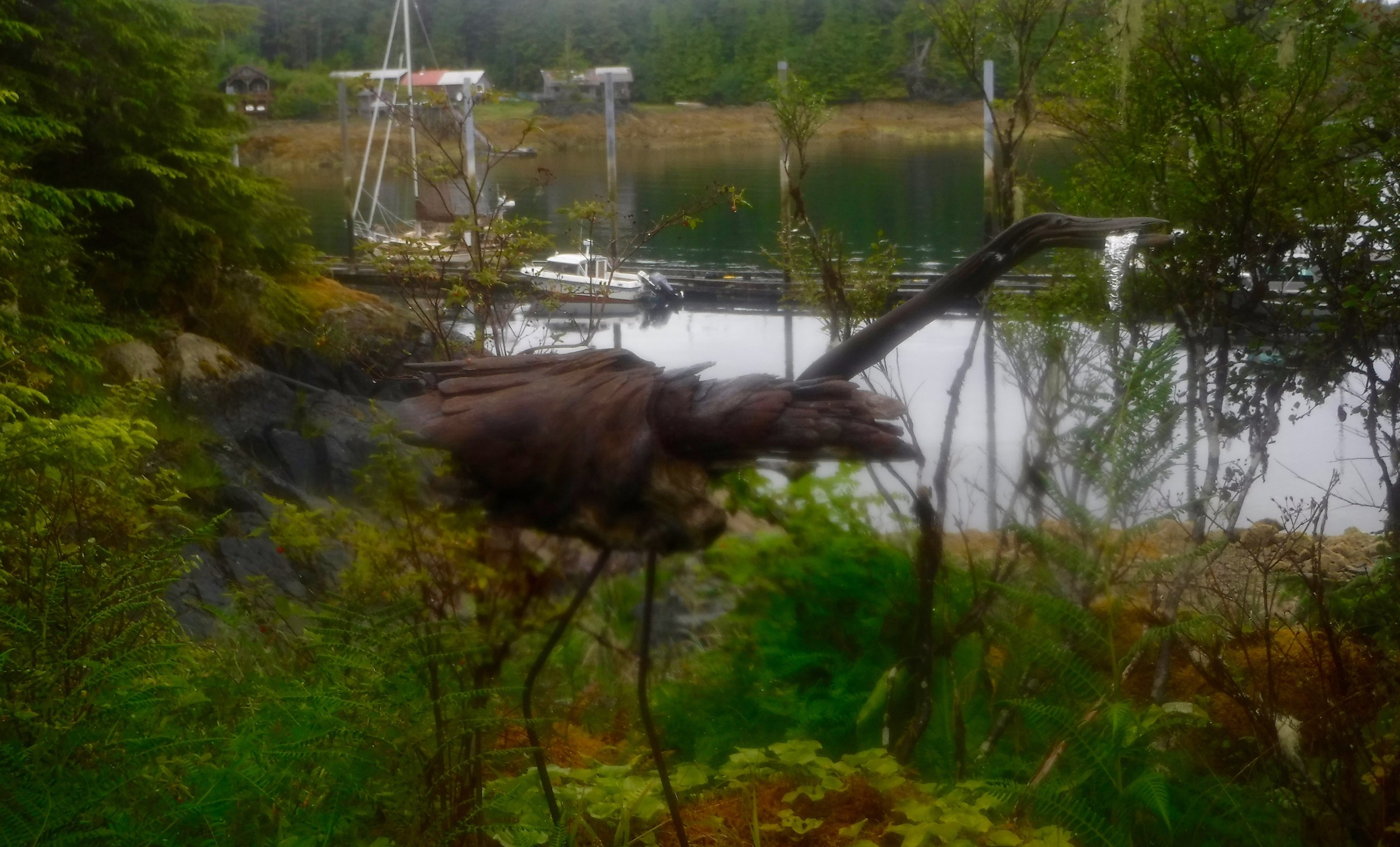 Neat sculpture of a Great blue heron. Made from drift wood