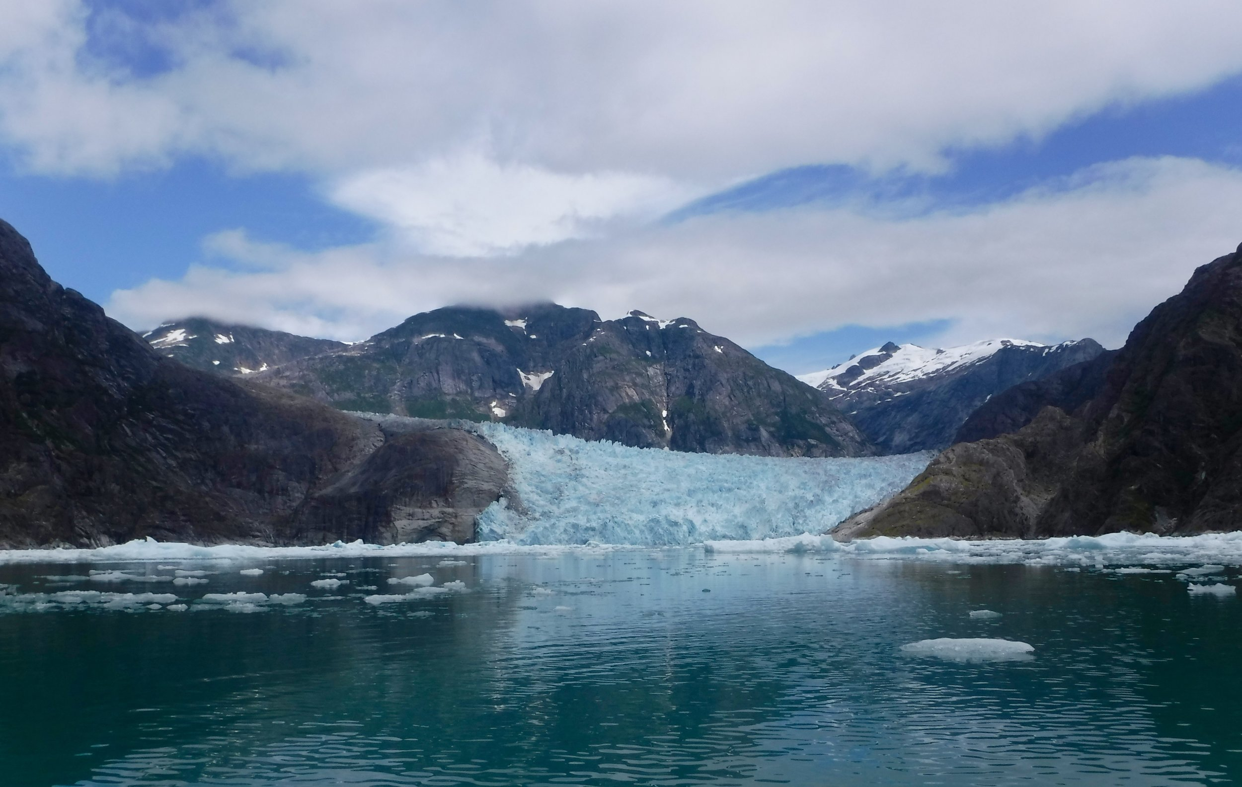 A very active glacier with lots of calving