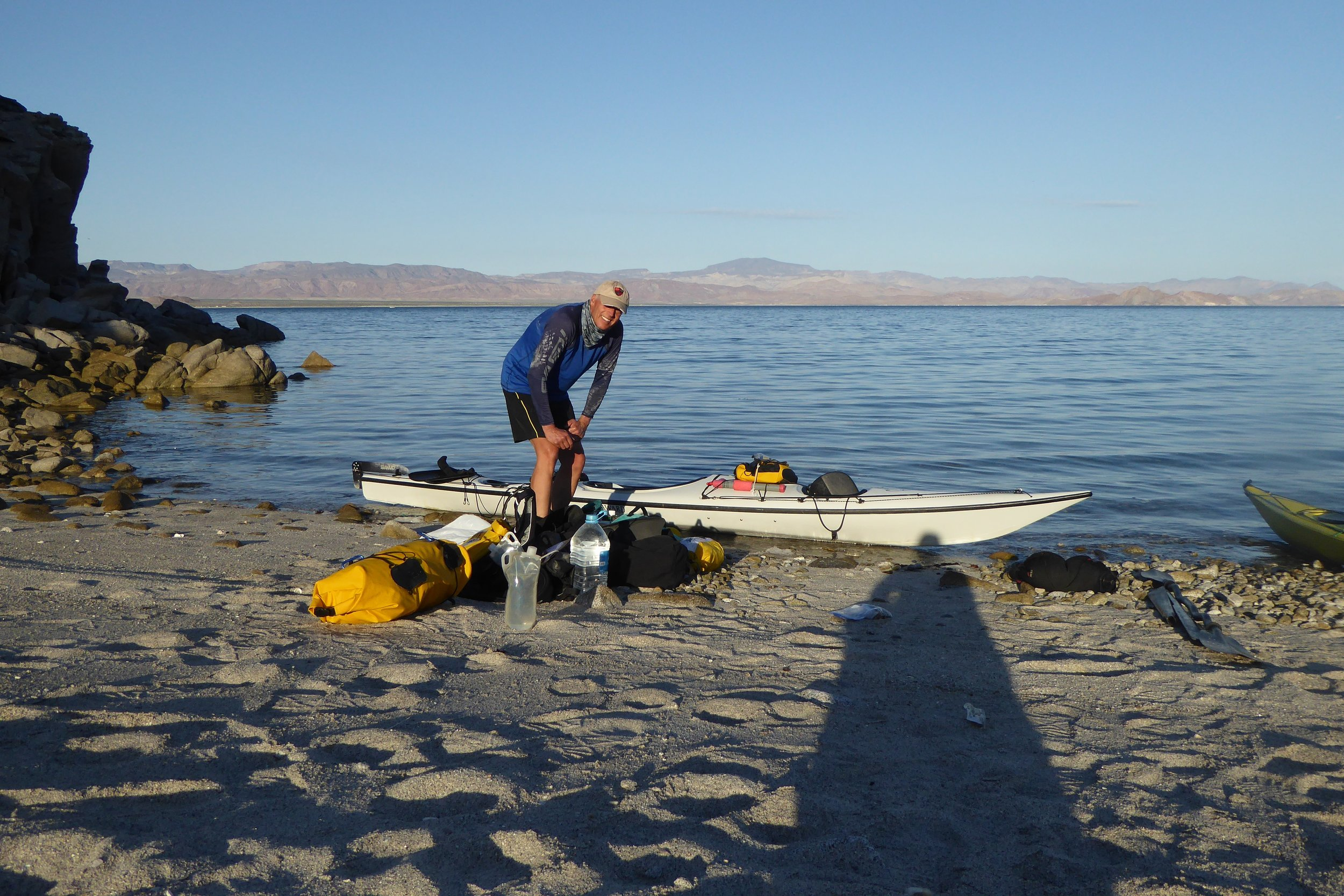 Packing up our kayaks to head to Gonzaga bay. We had plenty of water left so perhaps we were being a bit conservative in our water needs. But in the long run there was no water stress. It did make for boats being rather slug like.