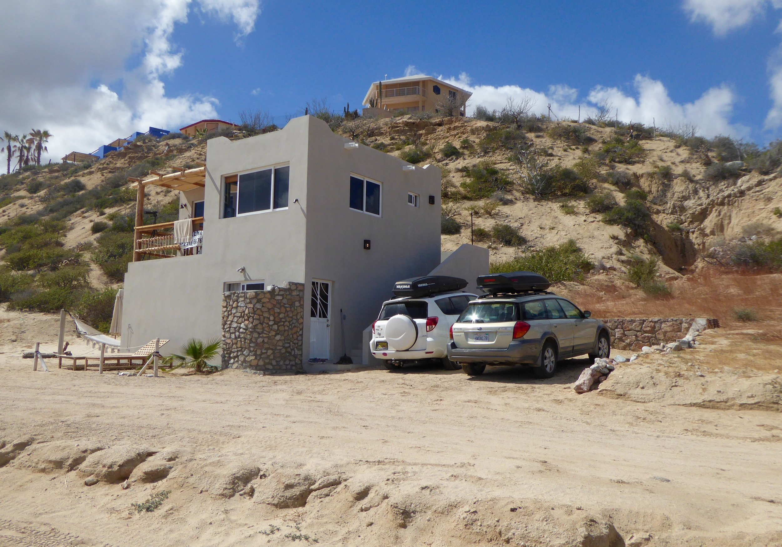 The house is on the beach, kiteboarding is just a very short walk away.