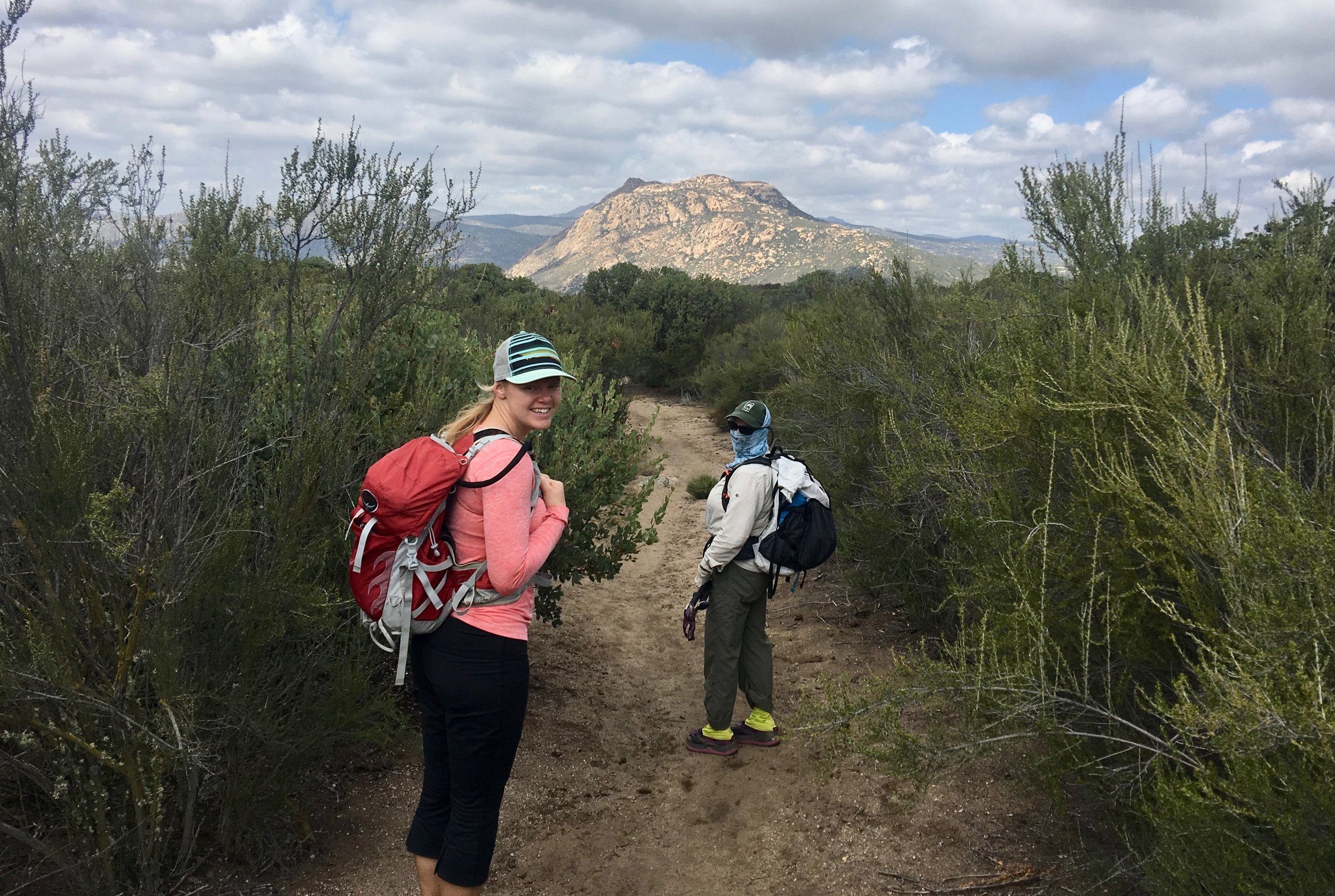Two hikers that we meet that started today are Jason from Kansas and Spiceman who got his trail name from hiking the Appalachian trail. They are both excited and quickly pass us by.  This year has been very dry so water may be challenging to find.  We are hoping that enough water has fallen for some of the plants to bloom. We pass by an agave that must have had enough water stored to send out its flowers.