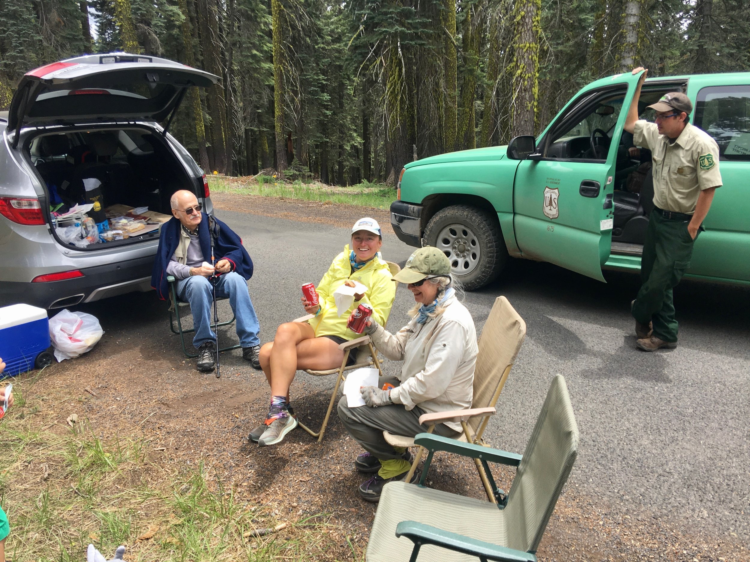 Even a forest service personal stopped by to say Hi. It was a nice break with good conversation. I have a feeling that we were the only hikers that day, but we sure appreciated their hospitality.