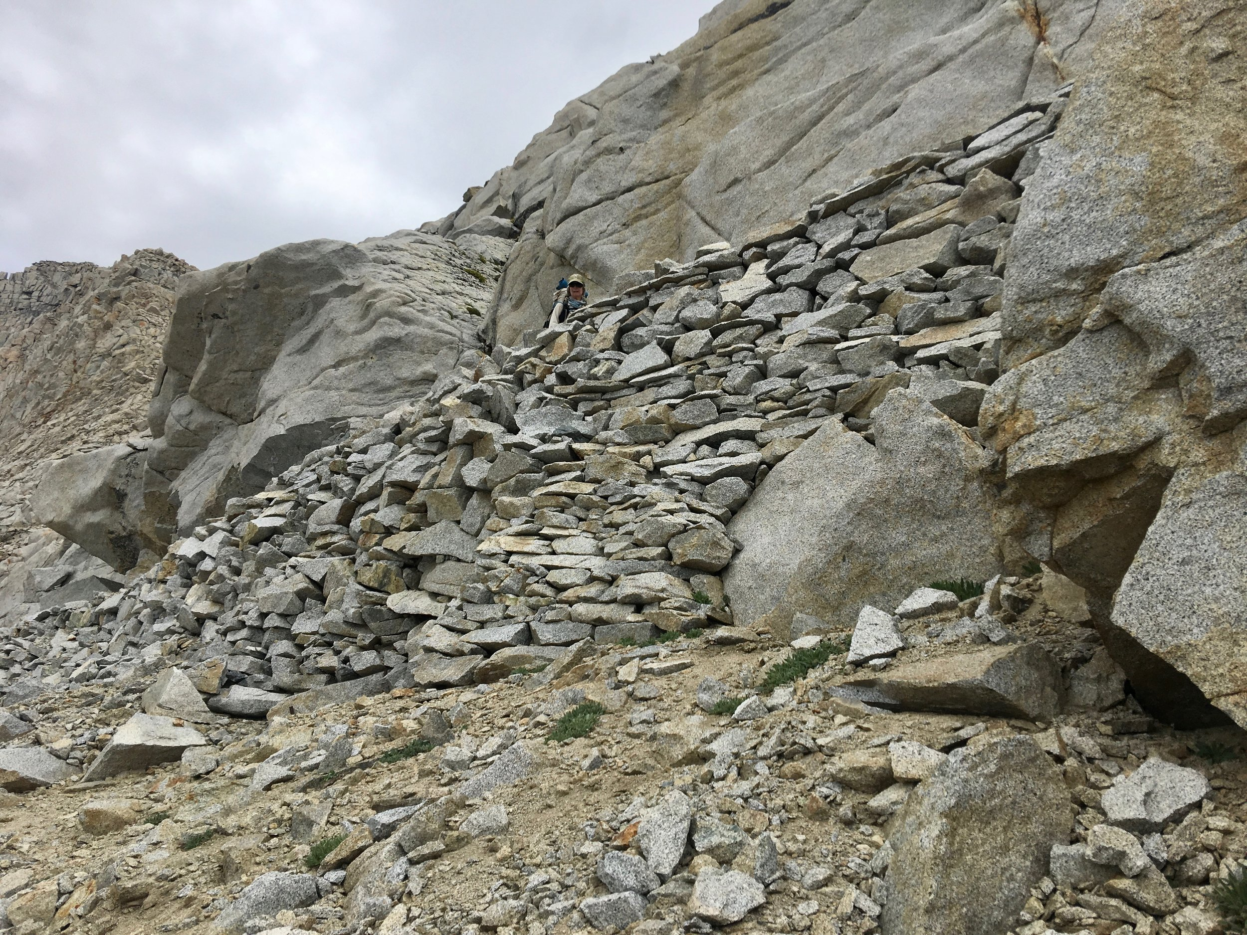A lot of rock work was done at switch backs.
