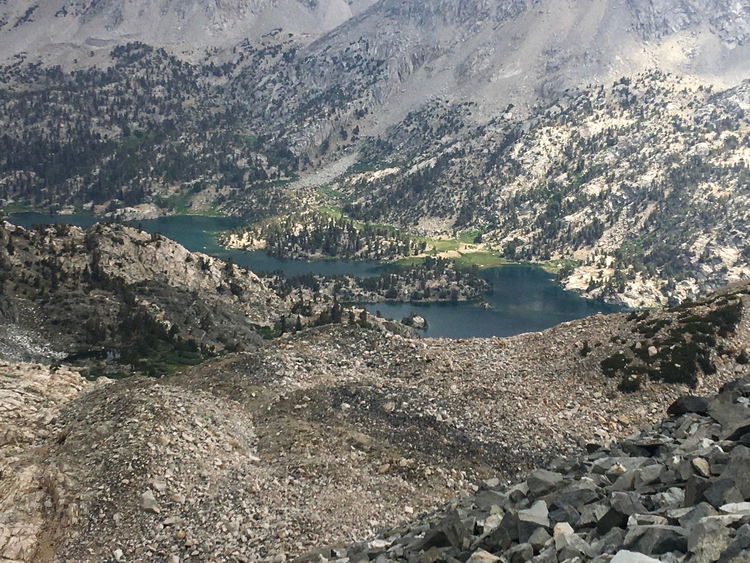 Rae Lakes are far below us.