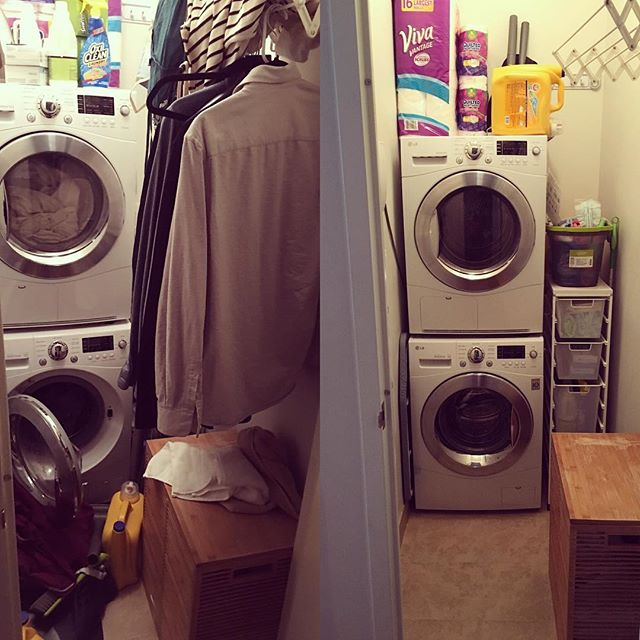 A laundry room, before and after. Organized by First Tier's business owner, Mark. #firsttierorganizingcleaning #homeorganizing #organized #apartmentliving #apartmentcleaning #nycapartments #nyc #brooklyn #williamsburg #life #smallbusiness #peace #luxury