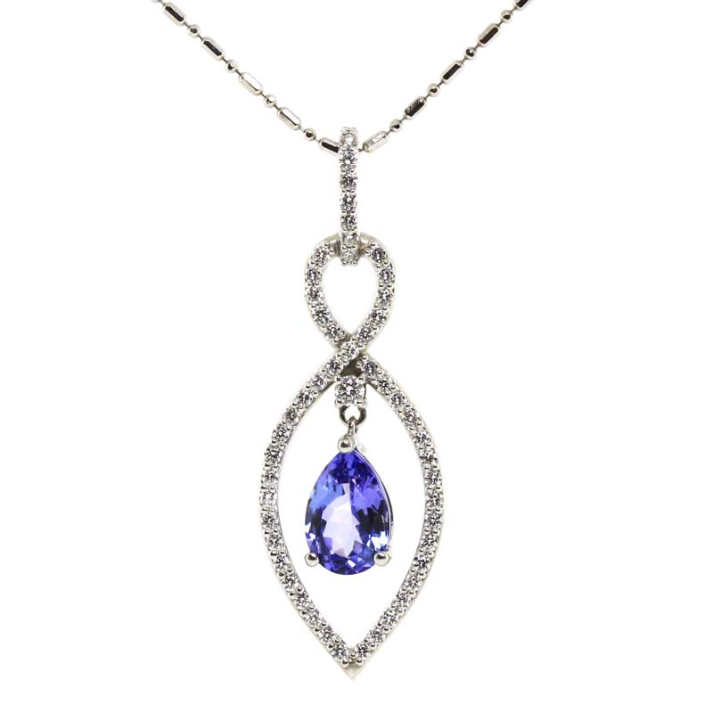 JEWELRY EXCHANGE CO. | SAN FRANCISCO:  WHITE GOLD, PEAR SHAPED TANZANITE & DIAMOND PENDANT
