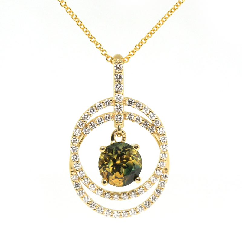 JEWELRY EXCHANGE CO. | SAN FRANCISCO: GOLD, ROUND BI-COLOR SAPPHIRE & DIAMOND PENDANT