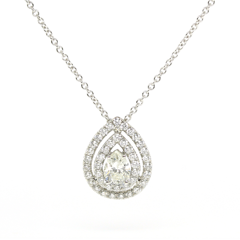 JEWELRY EXCHANGE CO. | SAN FRANCISCO: WHITE GOLD DOUBLE HALO PEAR SHAPED DIAMOND PENDANT