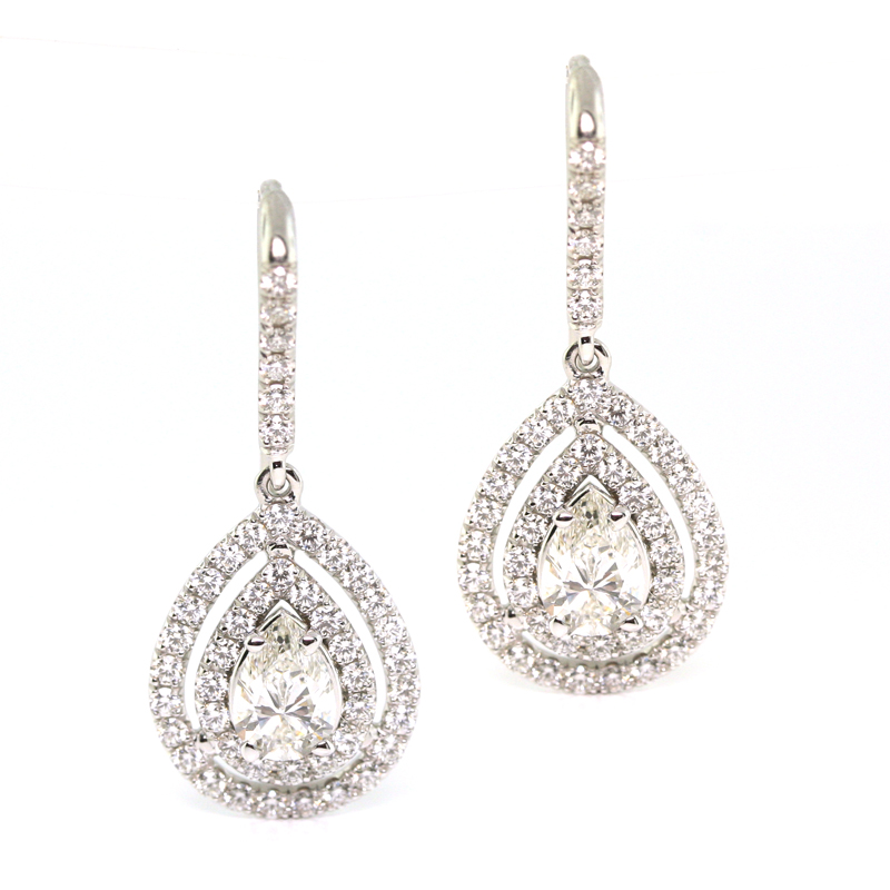 JEWELRY EXCHANGE CO. | SAN FRANCISCO: WHITE GOLD PEAR SHAPED DOUBLE HALO & DIAMOND EARRINGS