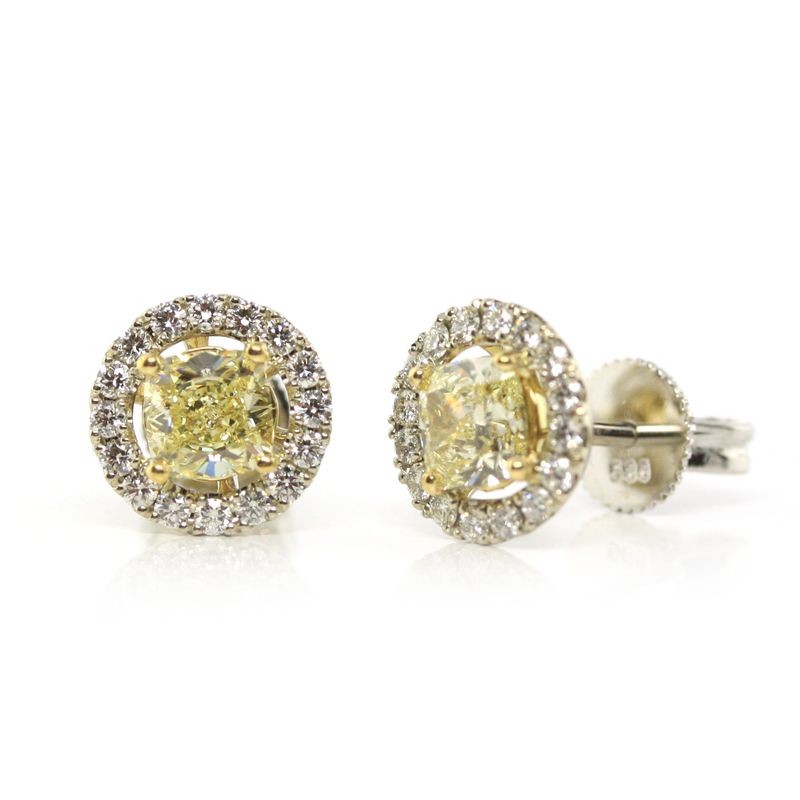 JEWELRY EXCHANGE CO. | SAN FRANCISCO: WHITE GOLD, FANCY YELLOW DIAMOND & DIAMOND HALO EARRINGS