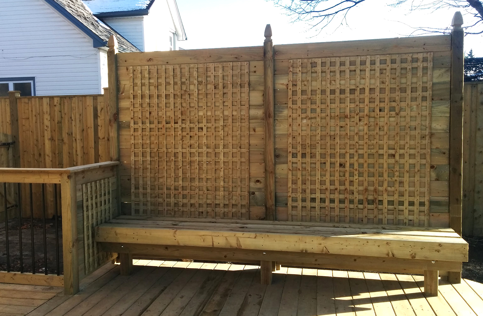 """""""We are very happy with our beautiful deck (and accoutrements) and strong, straight fence...!"""" ~ MAGI & Tim N."""