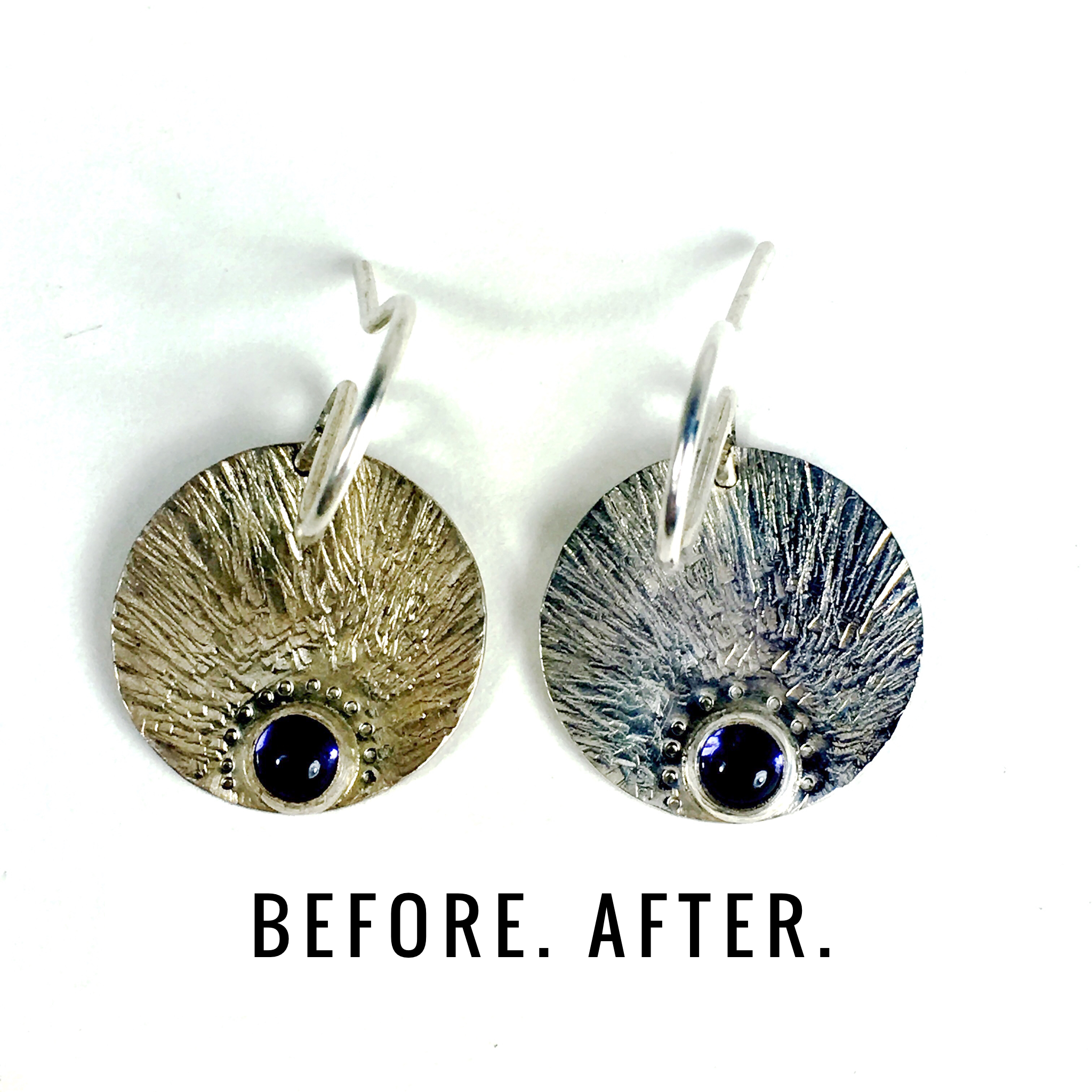 Results for a sterling silver earring, after a little work with the polishing cloth.